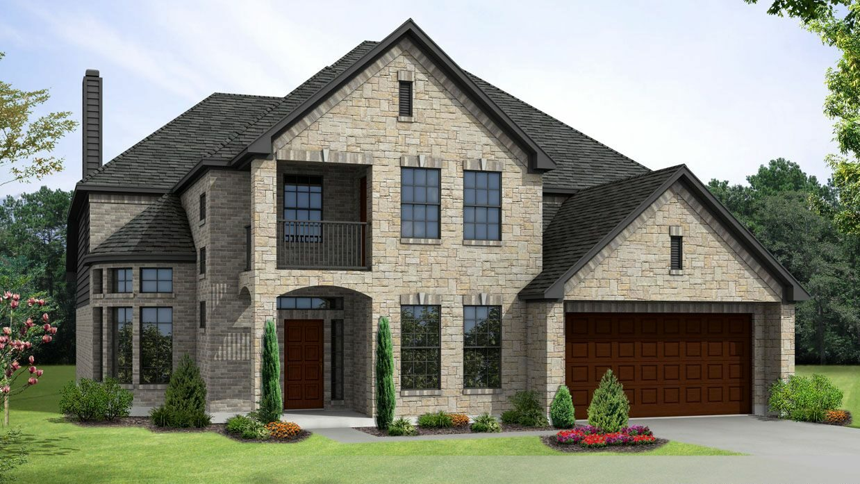 Exterior elevation of Castle Rock new construction home in Rosharon, TX