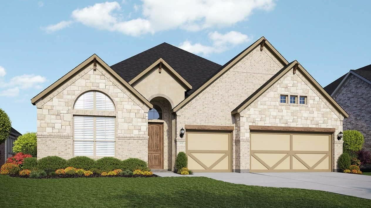Exterior elevation of Gehan new construction home in League City, TX