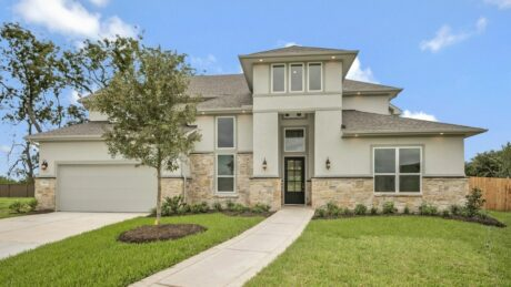 Exterior elevation of Meritage new construction home in Sugar Land, TX