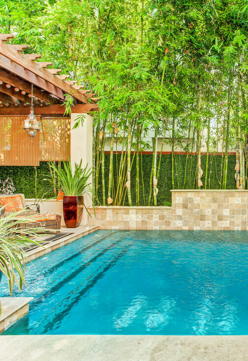 Pool and patio in River Oaks home's back yard