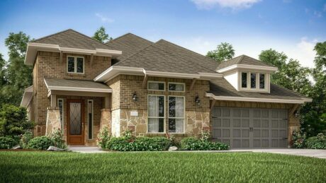 Exterior elevation of Village Builders new construction home in Porter, TX