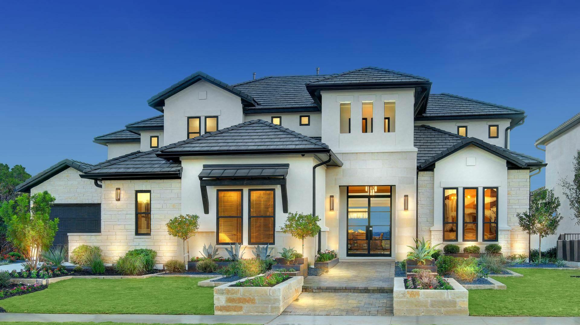 Exterior elevation of Drees Custom Homes new construction home in Pinehurst, TX